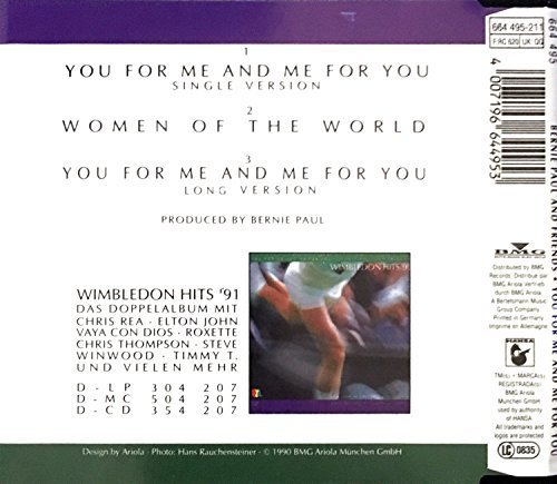 Bild 3: Bernie Paul, You for me and me for you-RTL Wimbledon Titelsong (1990, & Friends)