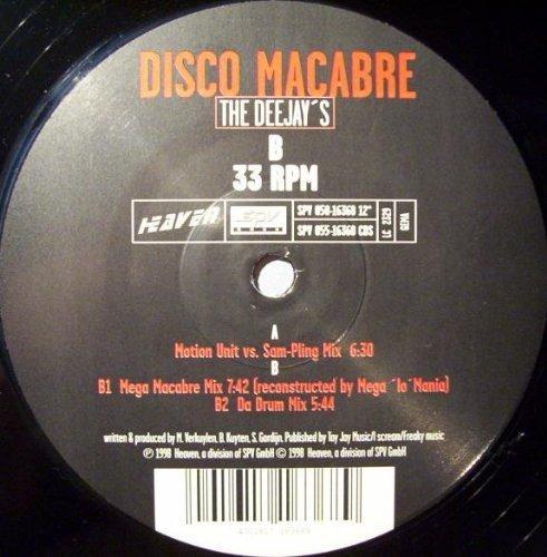 Bild 1: Disco Macabre, Deejay's (Motion Unit vs. Sam-Pling/Mega Macabre [reconstructed by Mega 'lo' Mania]/Da Drum Mixes, 1998)