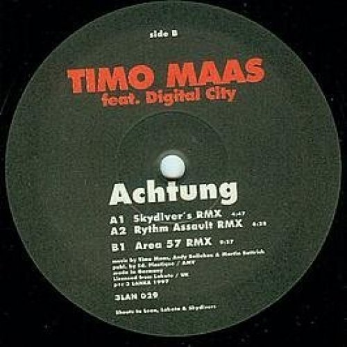 Bild 1: Timo Maas, Achtung! (Skydiver's/Rythm Assault/Area 57 Rmxes, 1997, feat. Digital City)
