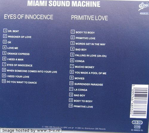 Bild 2: Miami Sound Machine, Eyes of innocence/Primitive love (1984/85)