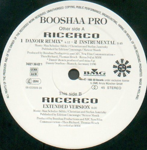 Bild 1: Booshaa Pro, Ricerco (Danoir Remix/Instr./Ext. Version, 1996)