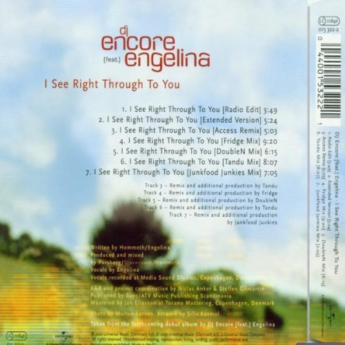Bild 2: DJ Encore, I see right through to you (2001, feat. Engelina)