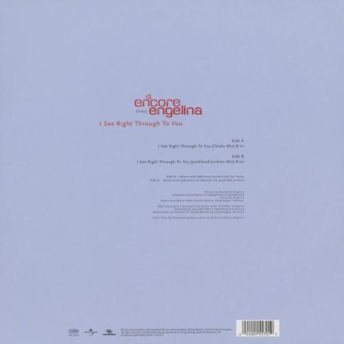 Bild 2: DJ Encore, I see right through to you (Ext., 4 versions, 2001, feat. Engelina)