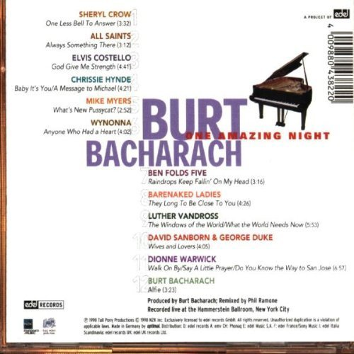 Bild 2: Burt Bacharach, One amazing night (1998, feat. George Duke, Chrissie Hynde, David Sanborn..)