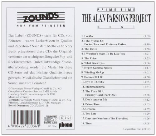 Bild 2: Alan Parsons Project, Prime time-Best (Zounds, 1991)