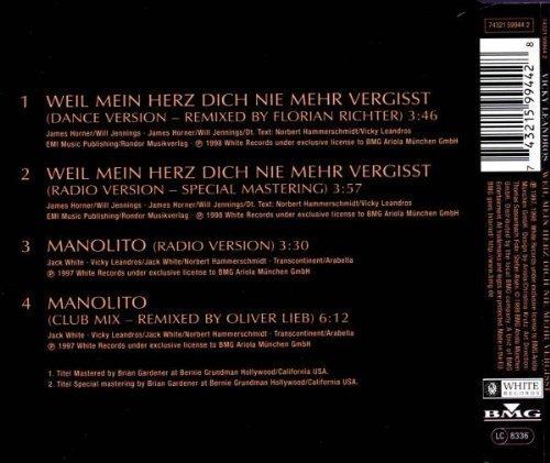 Bild 2: Vicky Leandros, Weil mein Herz dich nie mehr vergißt (my heart will go on; incl. Dance Mixes, 1998)