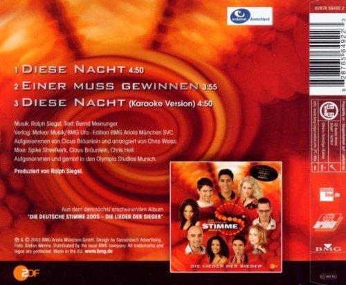 Bild 2: Die deutsche Stimme 2003 (ZDF-Show), Diese Nacht