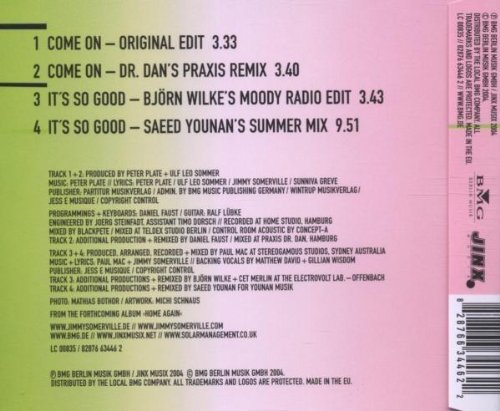 Image 2: Jimmy Somerville, Come on/It's so good (2 versions each, 2004)