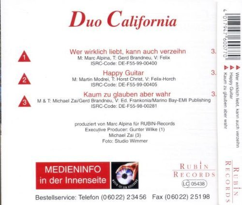 Фото 2: Duo California, Wer wirklich liebt, kann auch verzeihn (1999)