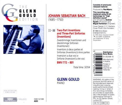 Bild 2: Bach, Two- and three-part inventions, BWV 772-801 (Sony, 1966) (Glenn Gould)
