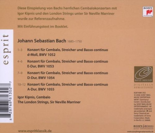 Bild 2: Bach, Cembalokonzerte: BWV 1052-55 (Sony/Esprit, 2006) (Igor Kipnis, The London Strings/Sir Neville Marriner)