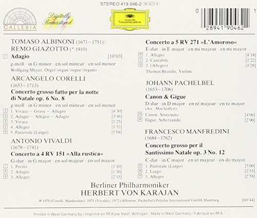 Bild 2: Albinoni, Adagio g-moll/Pachelbel: Kanon & Gigue/Corelli & Manfredini: Concerti grossi.. (1970-72, DG/Galleria) (Berliner Philharmoniker/Karajan)