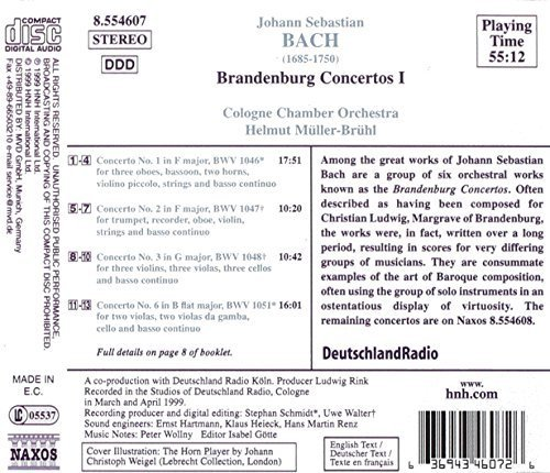 Bild 2: Bach, Complete orchestral works 6: Brandenburgische Konzerte Nrn. 1-3, 6, BWV 1046-48/1051 (Naxos, 1999) Cologne Chamber Orch./Müller-Brühl