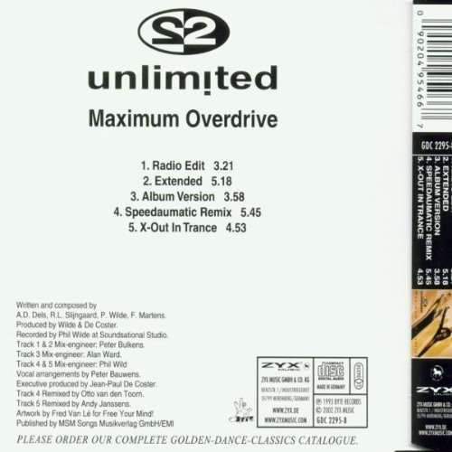 Bild 2: 2 Unlimited, Maximum overdrive (5 mixes, golden dance classics)