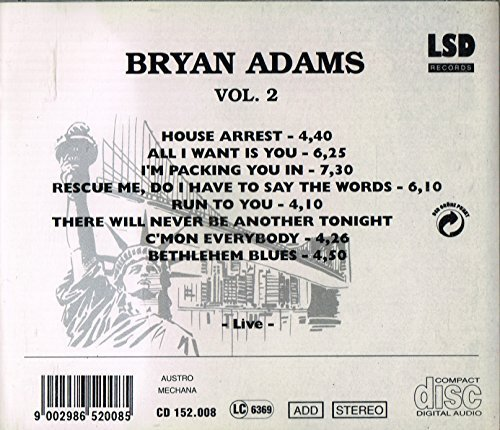 Bild 2: Bryan Adams, Vol. 2 (live, at Beacon Theatre/N.Y.C., 1993)