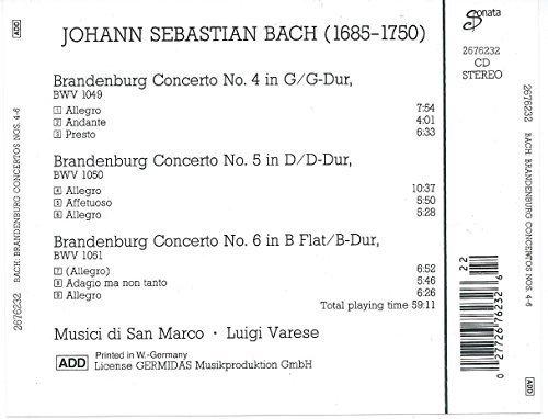 Bild 2: Bach, Brandenburg concertos Nos. 4-6 Musici di San Marco, Luigi Varese