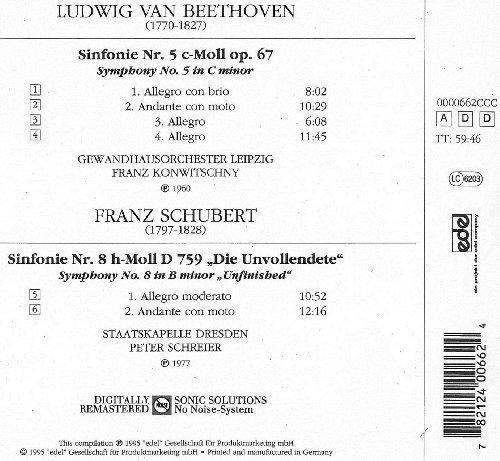 Bild 2: Beethoven, Sinfonie Nr. 5, op. 67/Schubert: Sinfonie Nr. 8, D. 759 'Unvollendete' (CCC/Edel, 1960/77/95) (Gewandhausorch. Leipzig/Konwitschny, Staatskapelle Dresden/Schreier)