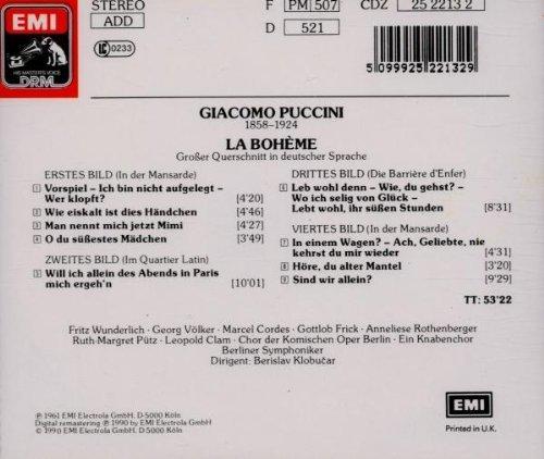 Bild 2: Puccini, La bohème-Großer Querschnitt deutsch (EMI, 1961/90) (Berliner Symphoniker/Klobucar, Fritz Wunderlich, Anneliese Rothenberger..)