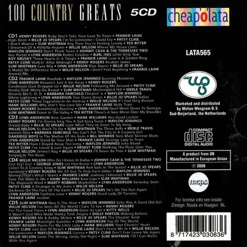 Bild 2: 100 Country Greats (2006, Weton-Wesgram), Kenny Rogers, Frankie Laine, Billie Jo SPears, Patsy Cline, Slim Whitman..