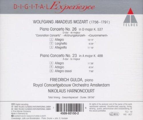 Bild 2: Mozart, Klavierkonzert Nr. 23, KV 488/Nr. 26, KV 537 'Krönungskonzert' (Teldec, 1984) Royal Concertgebouw Orch. Amsterdam/Harnoncourt, Friedrich Gulda