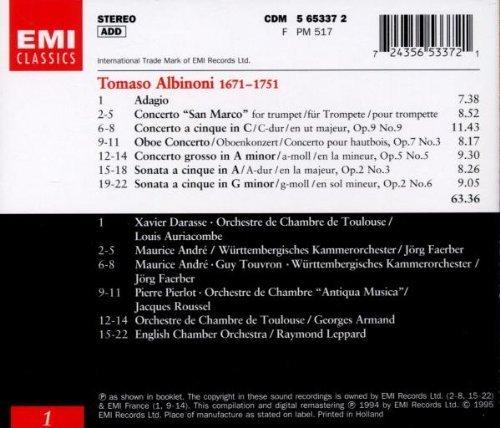 Bild 2: Albinoni, Concertos & sonatas/Adagio (EMI, 1995) (Xavier Darasse, Maurice André, Orch. de Chambre 'Antiqua Musica'/Roussel..)