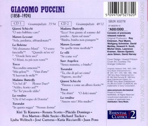 Bild 2: Puccini, Opernarien und Liebesszenen (Sony, 1948-90/97) Plácido Domingo, Kiri Te Kanawa, Renata Scotto, Lorin Maazel..