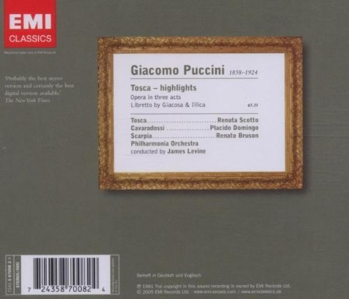 Bild 2: Puccini, Tosca-Highlights (EMI, 1981/2005) Philharmonia Orch./Levine, Renata Scotto, Placido Domingo..