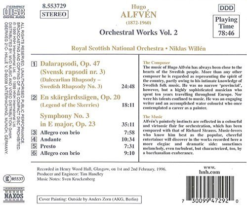 Bild 2: Alfven, Hugo, Symphony no. 3/Legend of the skerries/Dalecarlian rhapsody (Naxos, 1996) Royal Scottish National Orch./Willén