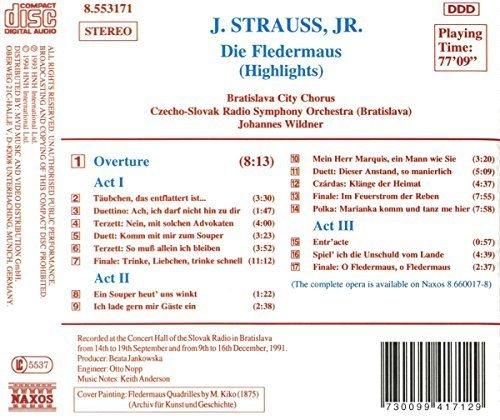 Bild 2: Strauss, Johann (Sohn), Die Fledermaus-Highlights (Naxos, 1994) Czecho-Slovak RSO, Bratislava/Wildner..