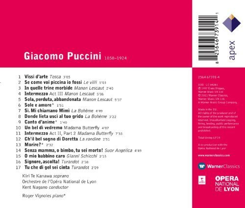 Bild 2: Puccini, Arias & songs (Apex) Kiri Te Kanawa, Orch. Opera National de Lyon/Nagano/Vignoles