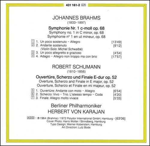 Bild 2: Brahms, Symphonie Nr. 1, op. 68/Schumann: Ouvertüre, Scherzo und Finale, op. 52 (DG, 1964/72) Berliner Philharmoniker/Karajan