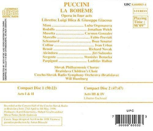Bild 2: Puccini, La bohème (Naxos, 1990) Czech-Slovak RSO (Bratislava)/Humburg, Luba Orgonasova, Jonathan Welch..