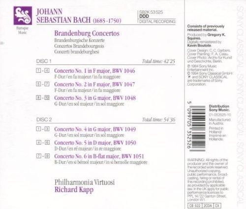 Bild 2: Bach, Brandenburg concertos (Sony, 1984) Philharmonia Virtuosi/Kapp