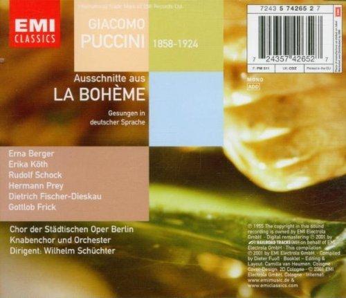 Bild 2: Puccini, La bohème-Szenenfolge (EMI, 1955, in German) Orch. der Städtischen Oper Berlin/Schüchter, Erna Berger, Rudolf Schock, D. Fischer-Dieskau..
