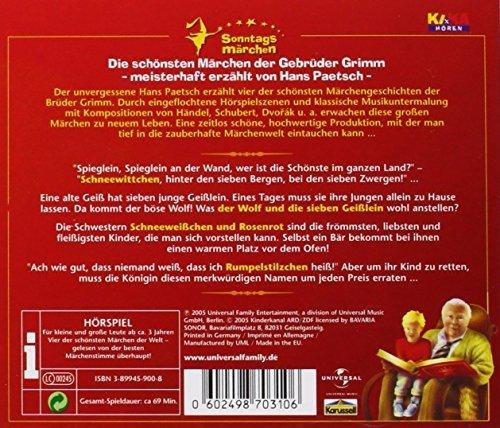 Bild 2: Brüder Grimm, Sonntagsmärchen 2: Schneewittchen.. (Leser: Hans Paetsch)