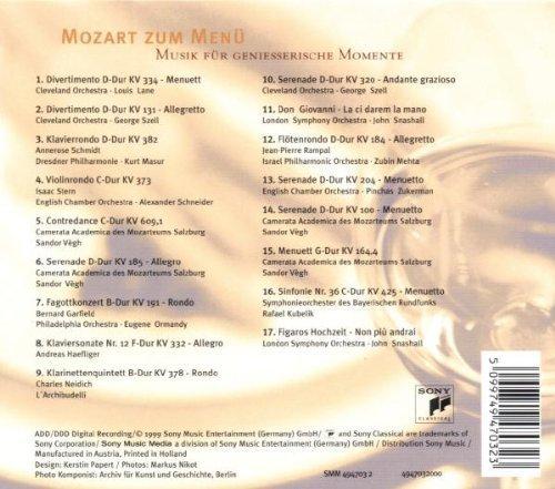 Bild 2: Mozart, Mozart zum Menü (compilation, 1999, Sony) Cleveland Orch./Lane, Szell, Annerose Schmidt, Dresdner Philharmonie/Masur..