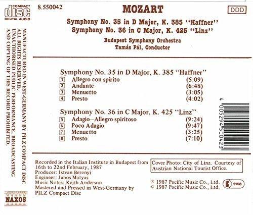 Bild 2: Mozart, Symphonies Nos. 35 & 36, KV 385 'Haffner', KV 425 'Linz' (Naxos, 1987) Budapest SO/Pál