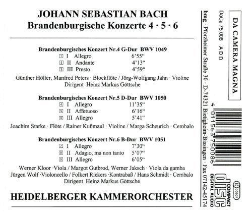 Bild 2: Bach, Brandenburgische Konzerte Nr. 4, 5, 6 Heidelberger Kammerorchester